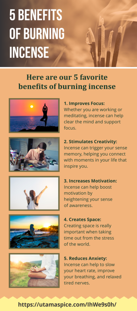 5 benefits of burning incense infographic