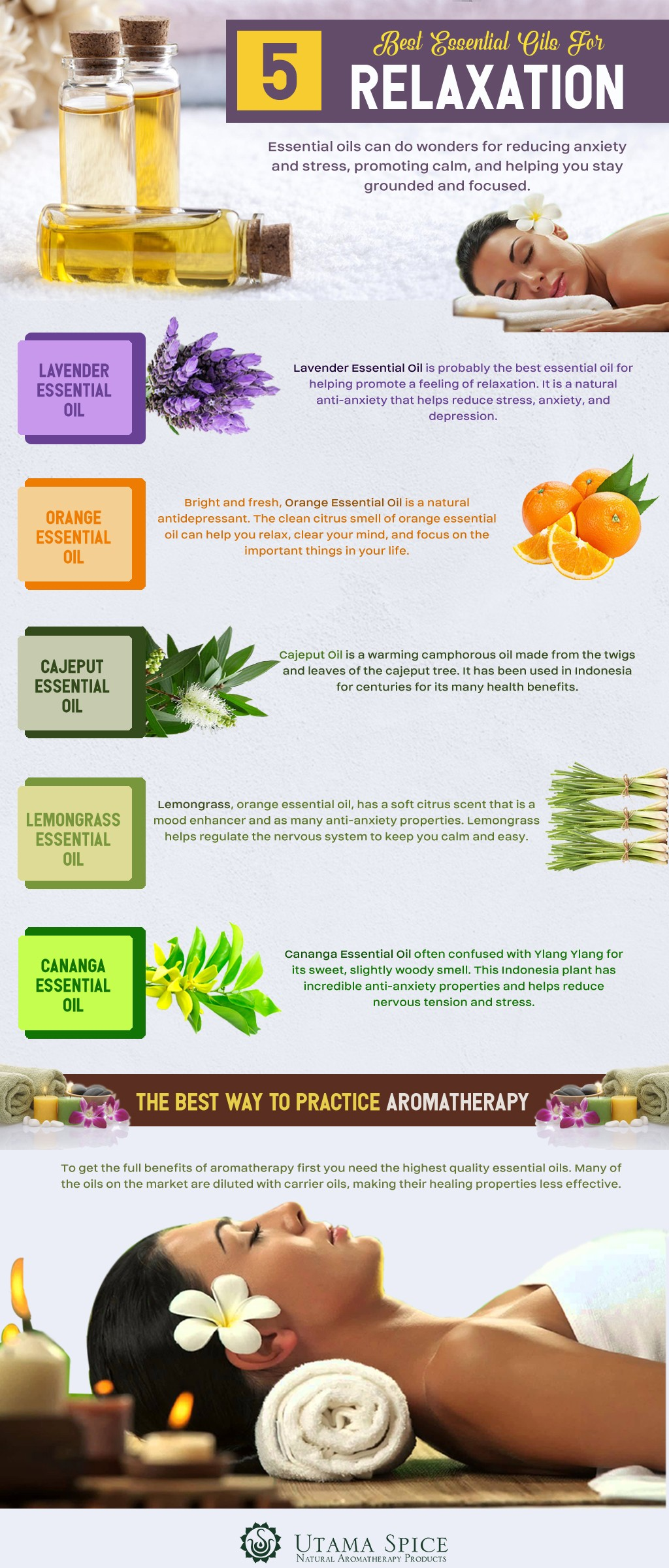5 best essential oils for relaxation infographic