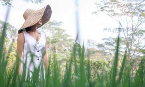 woman walks in paddy