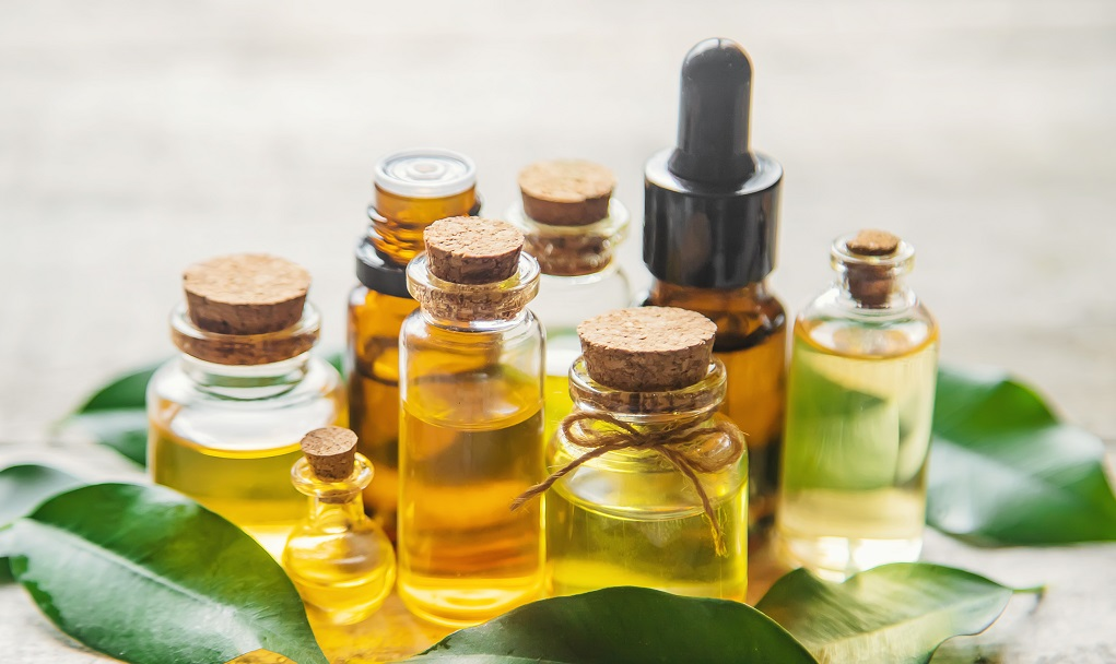 Cajeput  essential oil in small bottles